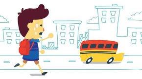 Élève court derrière un bus scolaire