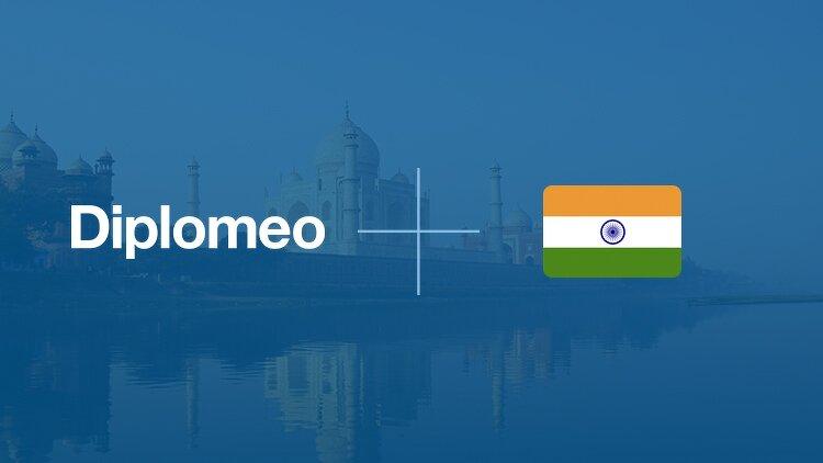 Drapeau de l'Inde a côté du logo Diplomeo